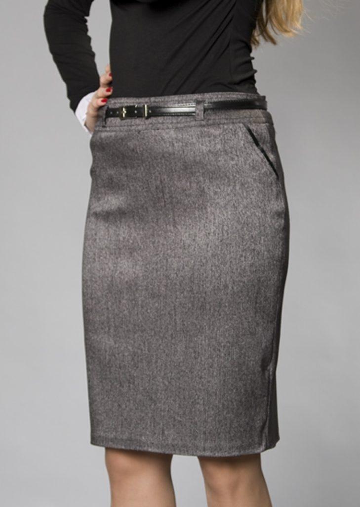 серая юбка-карандаш