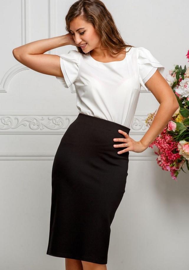 черная юбка-карандаш под белую блузку