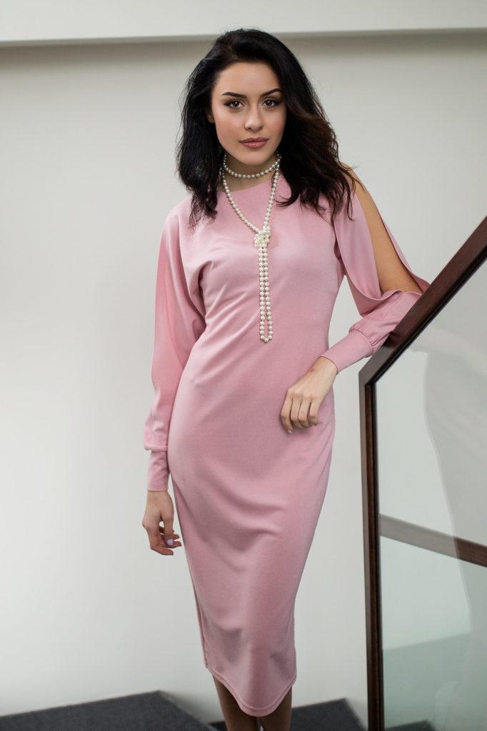 розовое платье длина миди