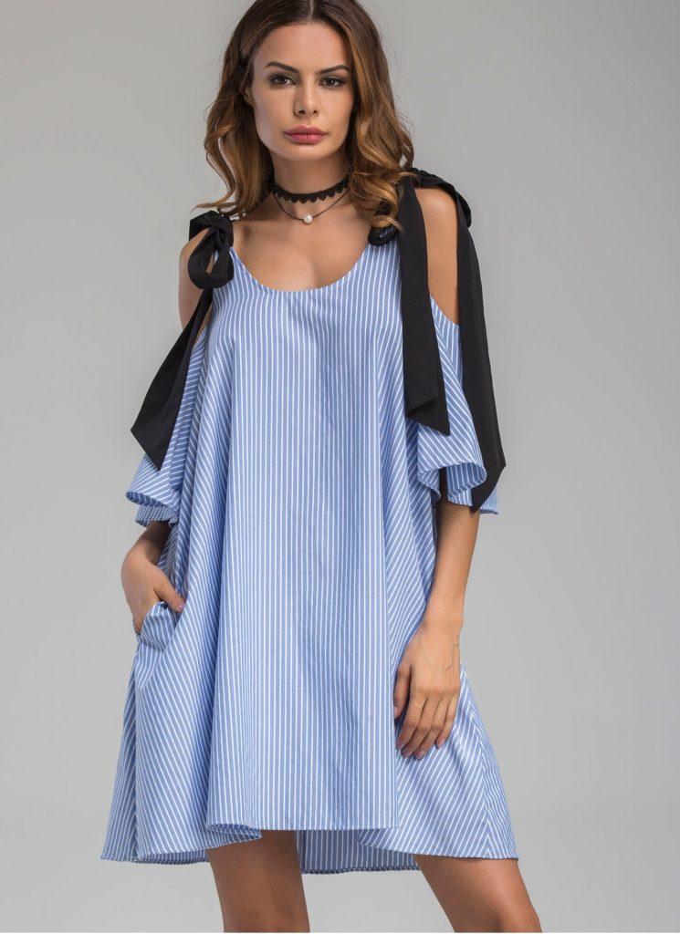 платье в полоску завязки на плечах