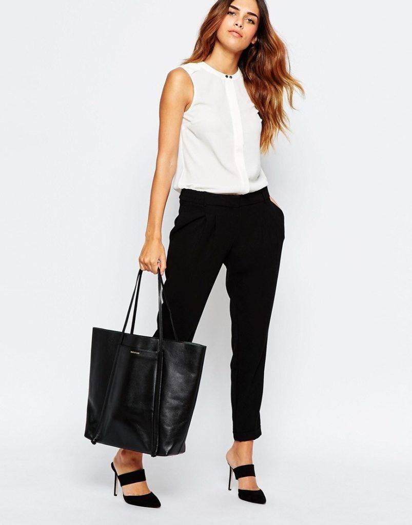короткие черные брюки под блузку белую без рукава