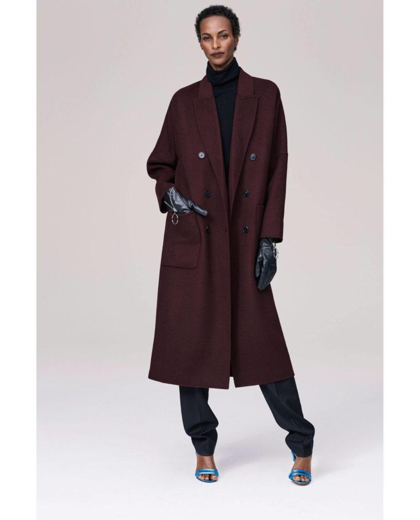 бордовое пальто миди