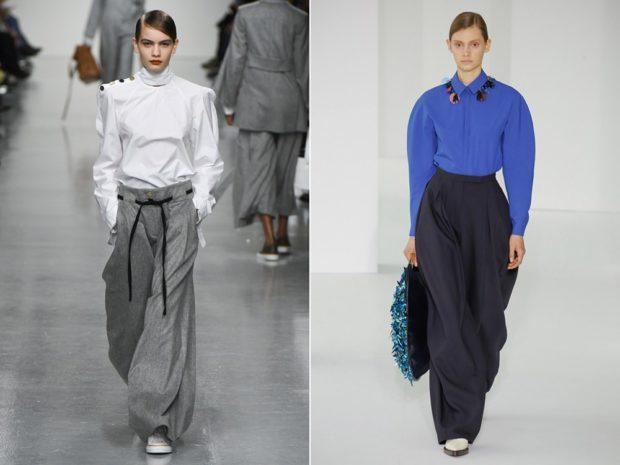 широкие серые брюки черные под белую и синюю блузки