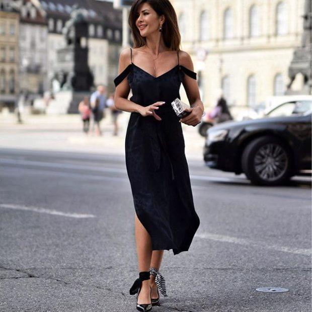 платье черное открытые плечи