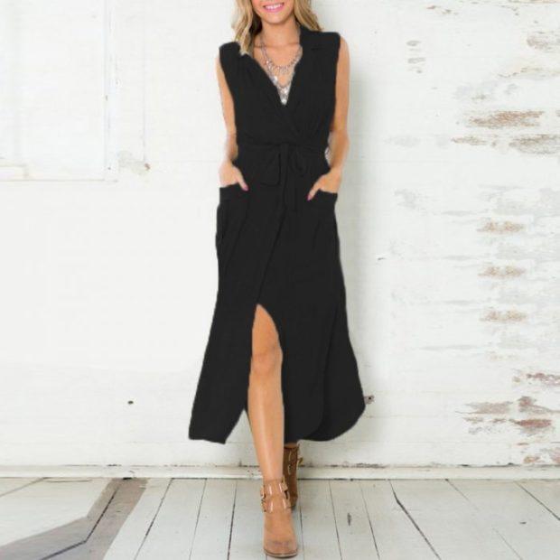 платье-рубашка миди черное