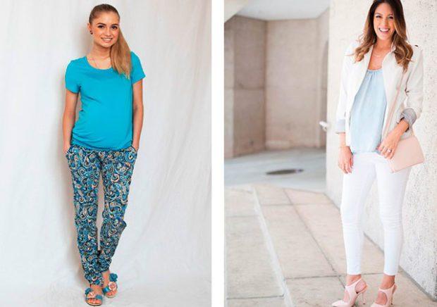 цветные штаны под синюю футболку белые брюки короткие под жакет
