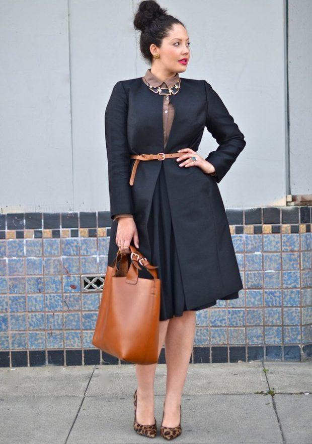 черное платье со складками