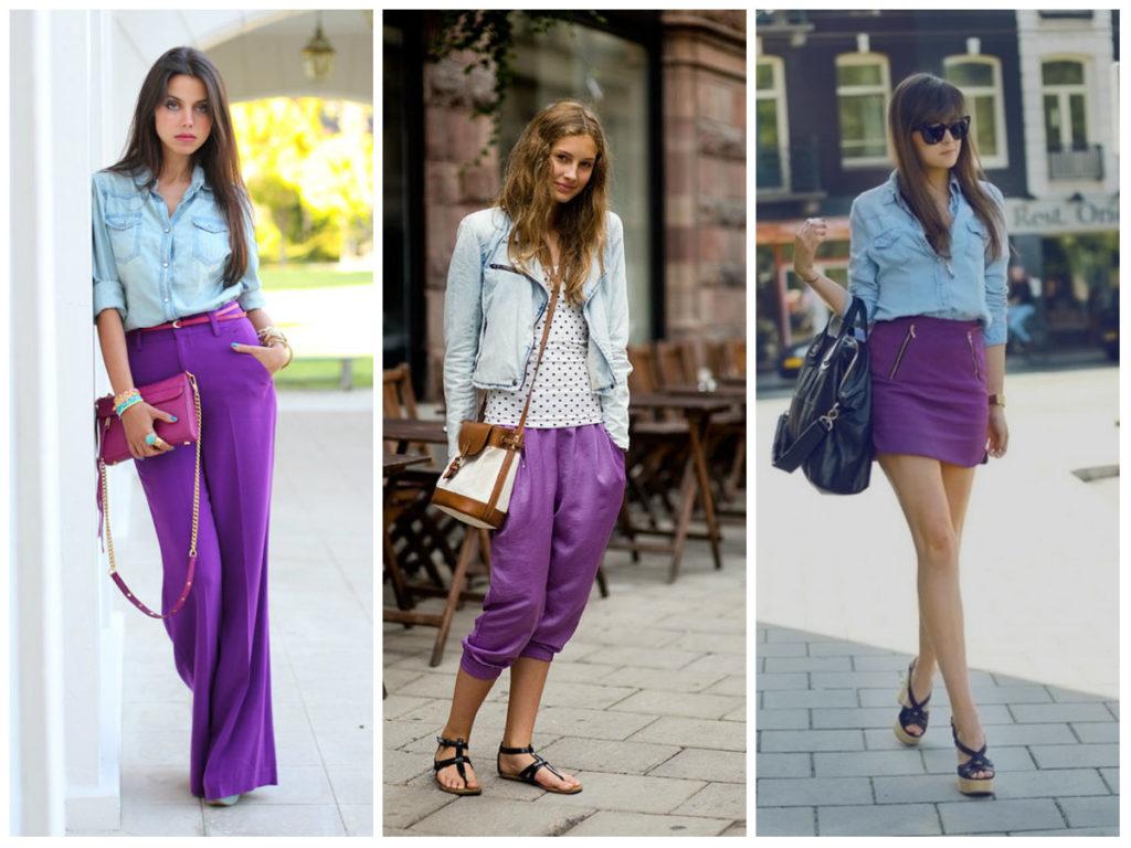 сочетание фиолетового с голубым и белым