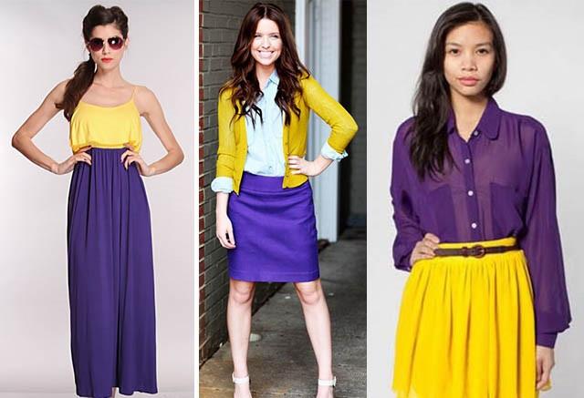 сочетание фиолетового с желтым