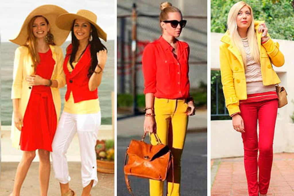 сочетание желтого с красным белым