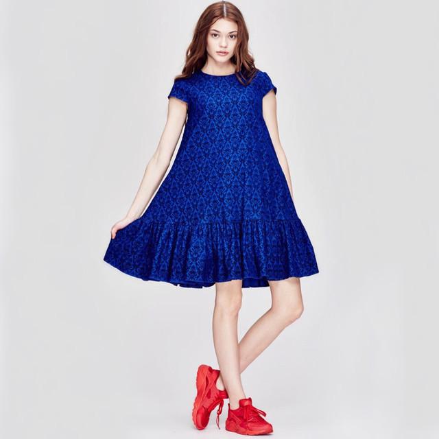 платье с воланами цвет индиго