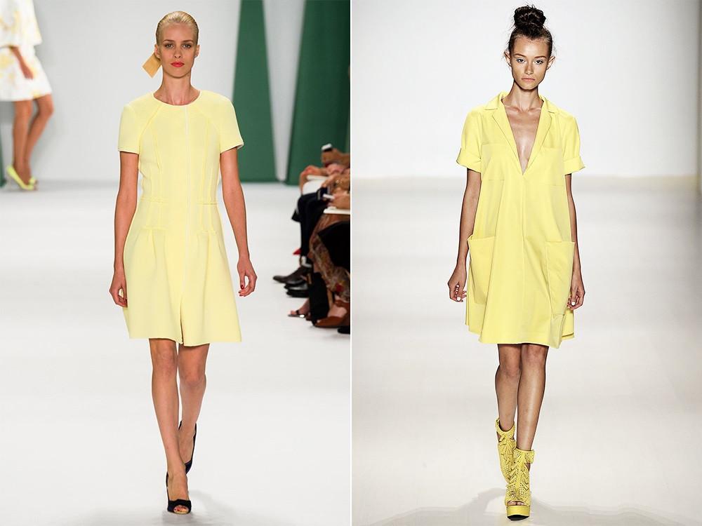 модный желтый цвет в платьях