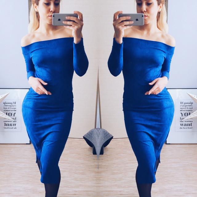 платье открытые плечи ультрамарин
