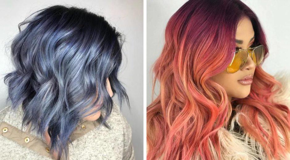 синее и красное окрашивание волос