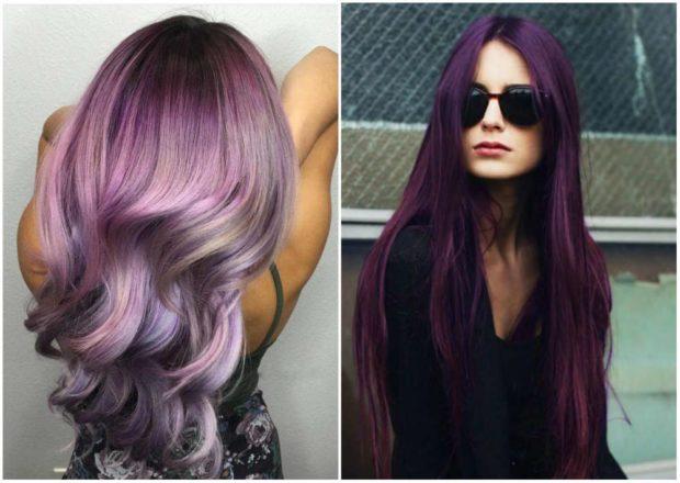 фиолетовое окрашивание волос волосы цвет марсала