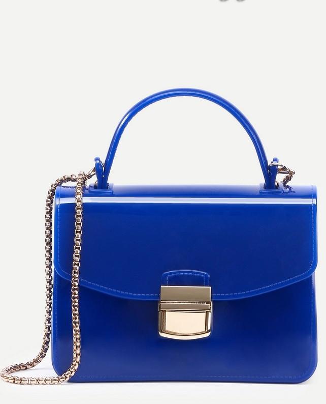 сумка синяя лаковая