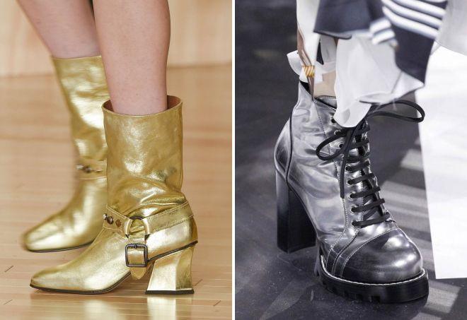 обувь золотая серебристая
