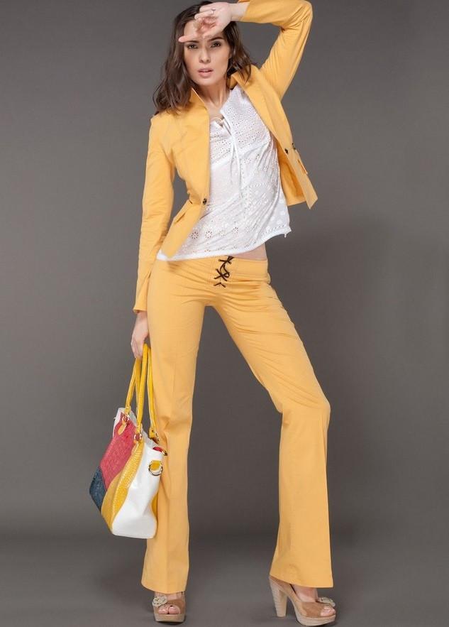 женские брюки весна лето 2019: желтые клеш