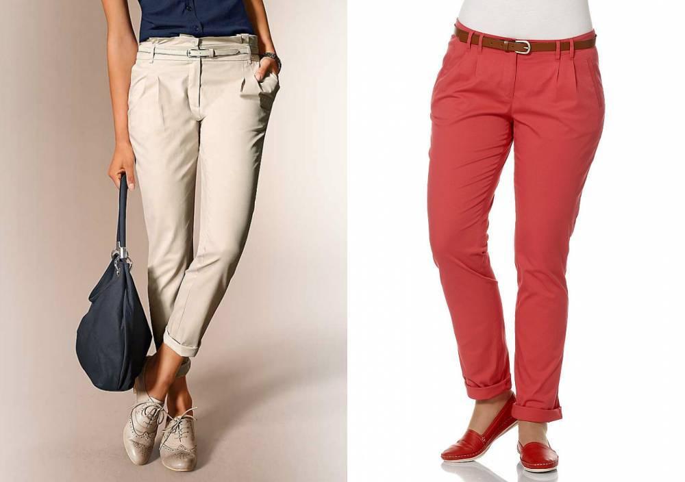 женские брюки весна лето: чинос серые красные