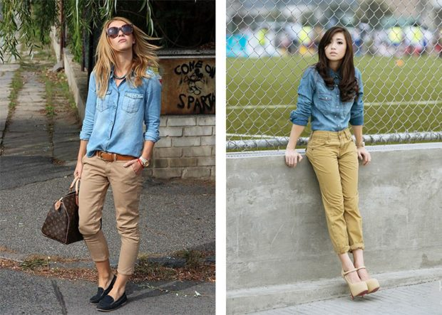 женские брюки весна лето: модные чинос коричневые горчичные