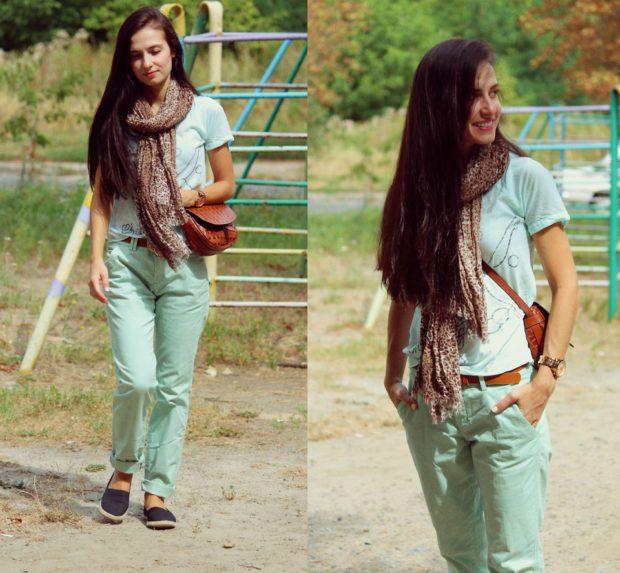модные брюки чинос салатовые