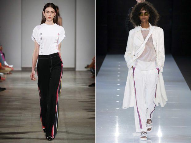 женские брюки весна лето 2021: черные с лампасами белые с лампасами