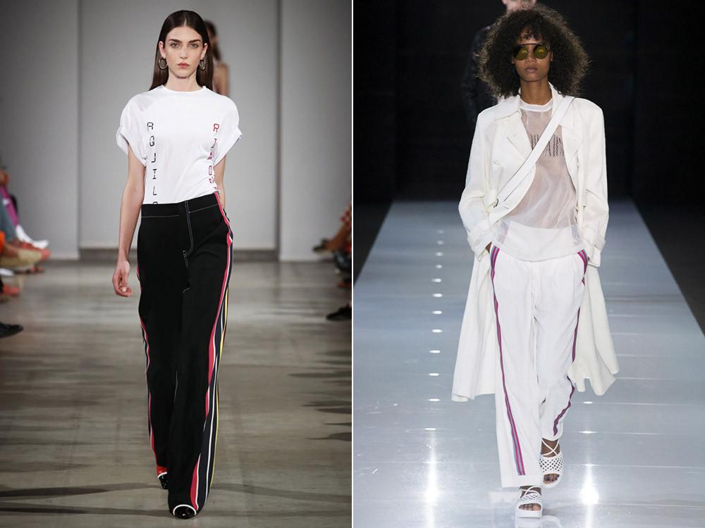 женские брюки весна лето 2019: черные с лампасами белые с лампасами