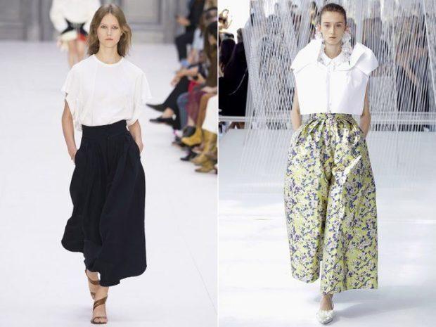женские брюки весна лето 2021: черные широкие в узор короткие