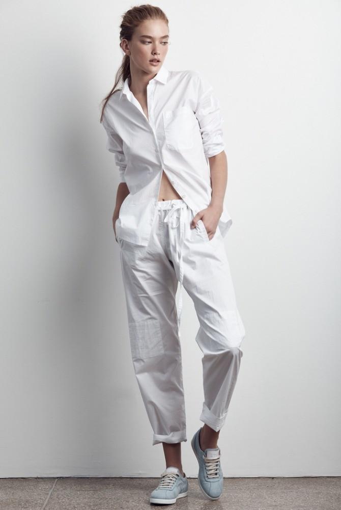 женские брюки весна лето 2019: белые широкие штаны подвернутые