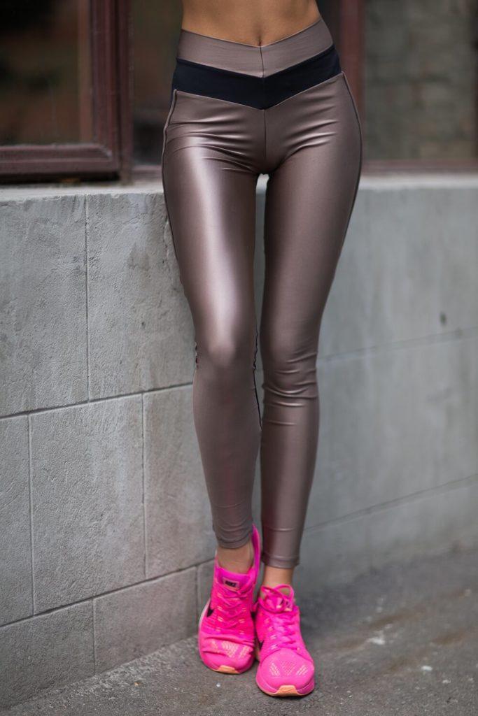 Леггинсы кожаные коричневые
