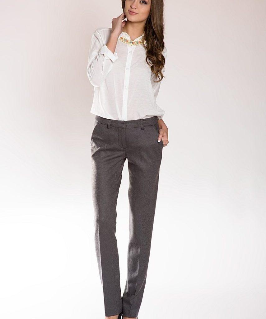 Классические брюки женские серые