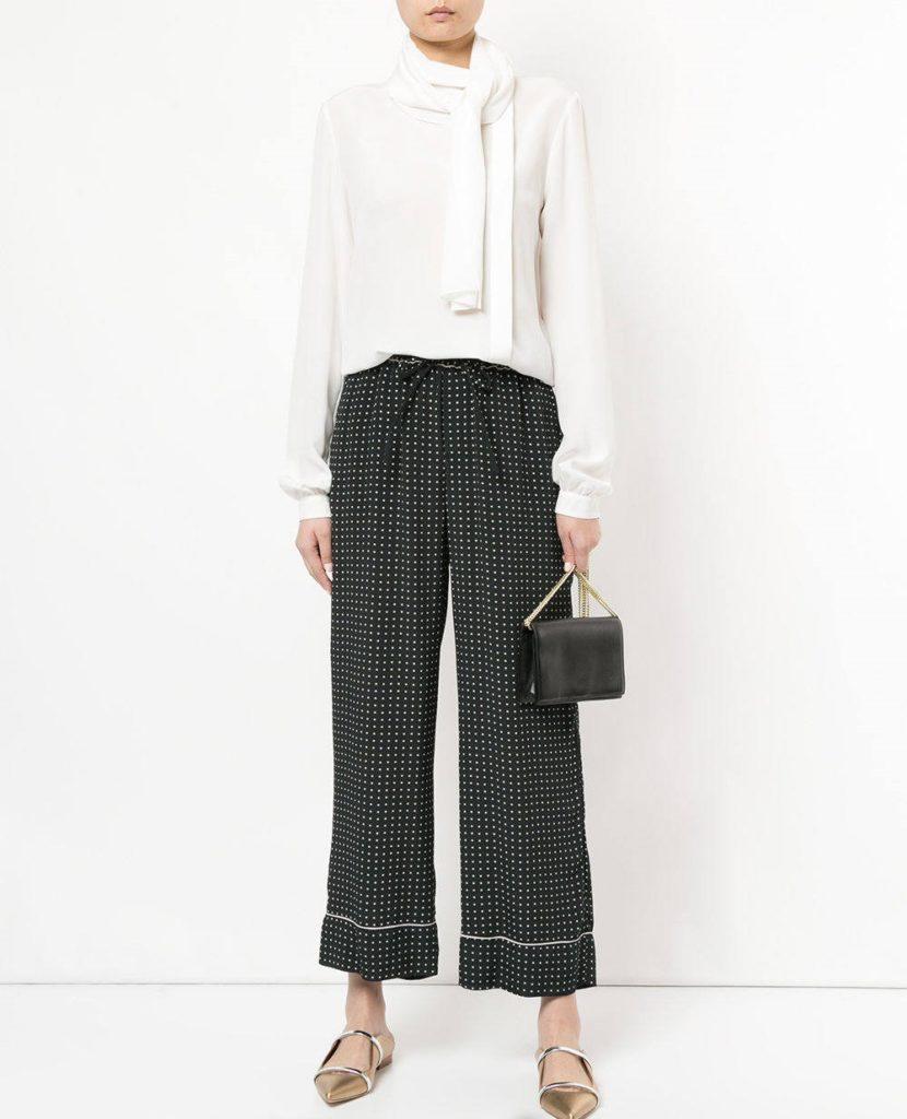 женские брюки весна лето 2019: кюлоты черные в белую клетку