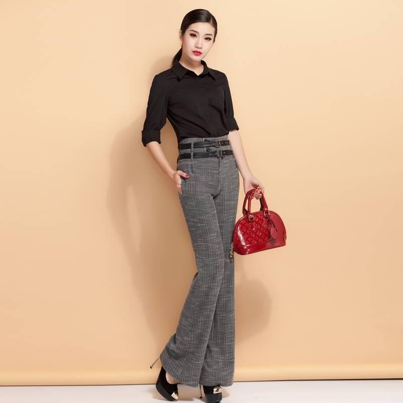 Расклешенные брюки женские серые с высокой талией