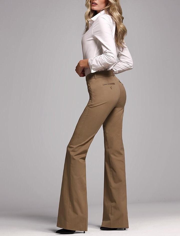 Расклешенные брюки женские кофейного цвета