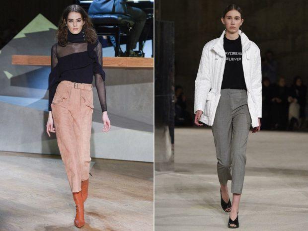 женские брюки весна лето 2021: с высокой талией коричневые серые короткие