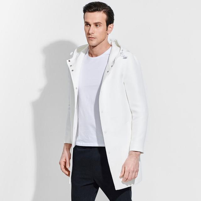 мужские куртки весна 2020: кожаная белая удлиненная