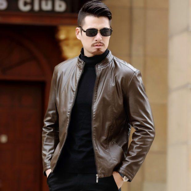 мужские куртки весна 2020: коричневая кожаная