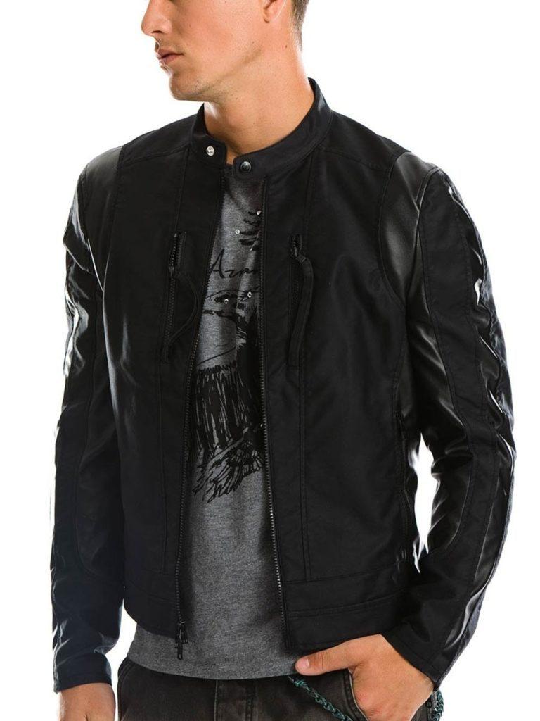 мужские куртки весна: кожаная черная воротник стойка