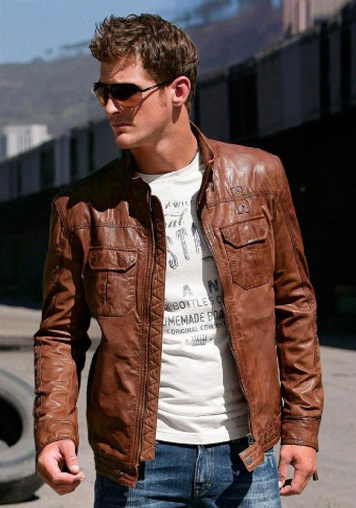 мужские куртки весна: кожаная коричневая