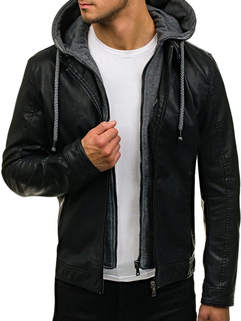 мужские куртки весна: кожаная черная классика