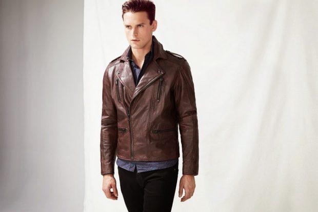 мужские куртки весна: косуха коричневая кожаная