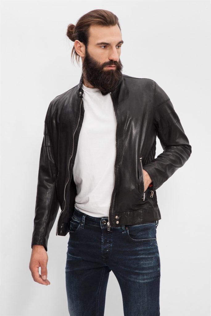 мужские куртки весна: кожаная черная