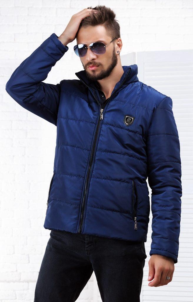 куртка на синтепоне короткая синяя
