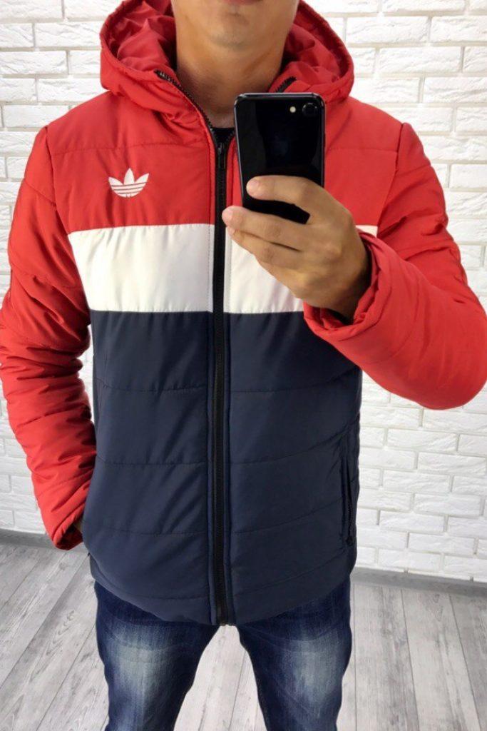куртка на синтепоне спортивная синяя с белым и красным