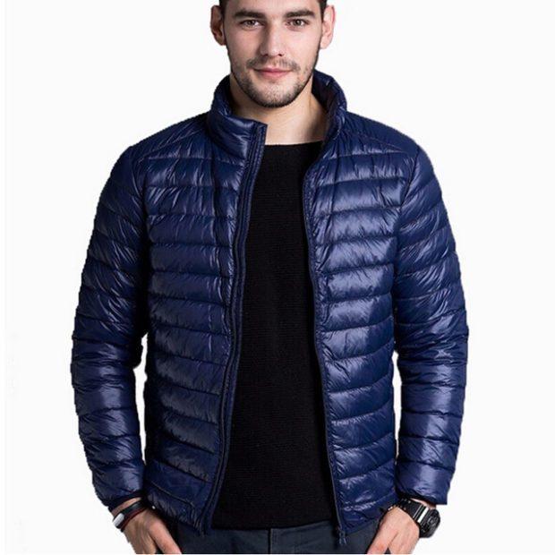мужские куртки весна 2020: стеганая синяя
