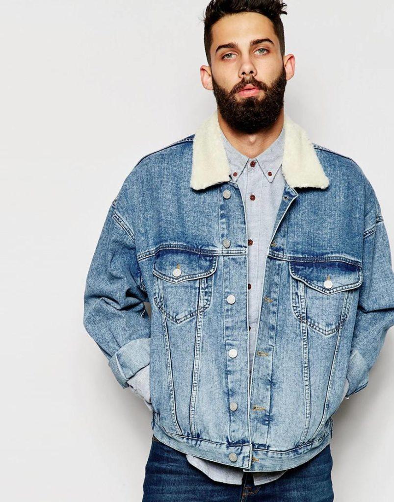 джинсовая куртка синяя потертая с меховым воротником