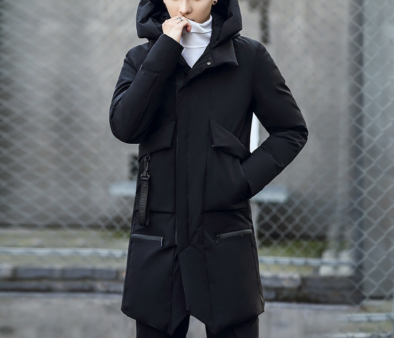 утепленная куртка черная удлиненная