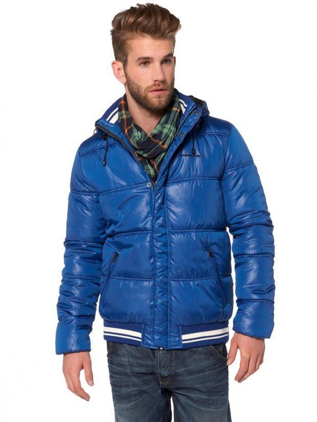 мужские куртки весна 2020: синяя стеганая