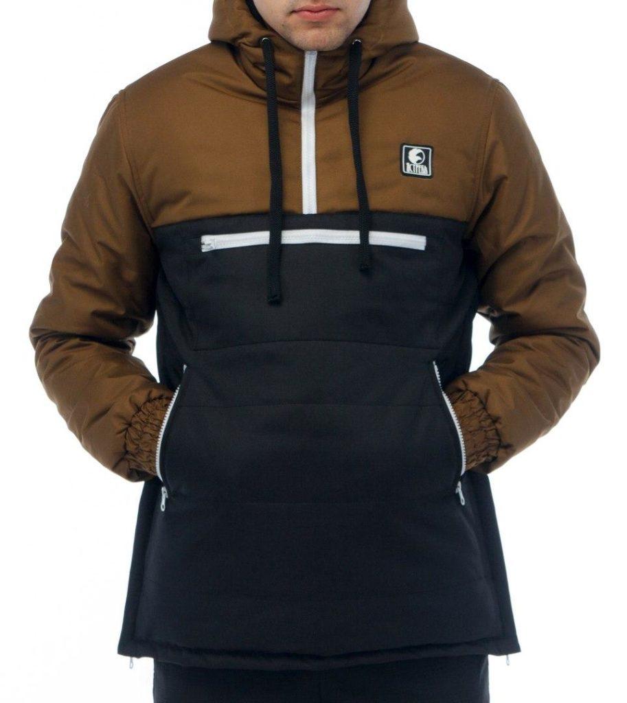 куртка анорак коричневая с черным