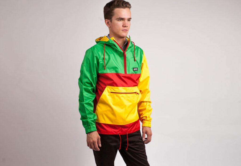 куртка анорак цветная желтая с красным и зеленым